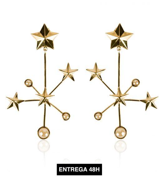 pendientes constelación oro y piedra clara48h
